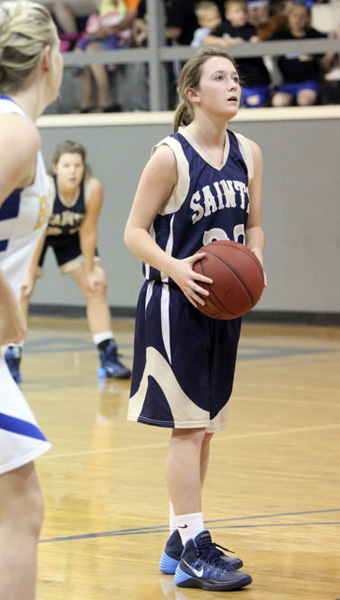 THE PRENTISS HEADLIGHT / JENNIFER HALL  Taytum Reid at the free throw line for the Lady Saints.
