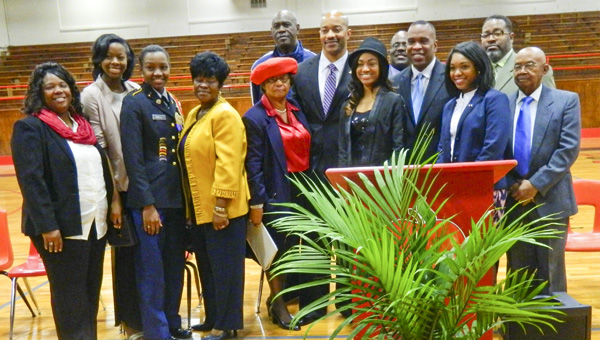 Shirley Burnham / The Prentiss Headlight – The annual JeffDavis County celebration of the life of Dr. Martin Luther King, Jr. was held Monday in Prentiss. Program  speakers and personalities were (front l to r) Cammie Reese, Megan Daniels, Deanna Mikell, Ella Johnson, NAACP President Queen Esther Sutton, Guest Speaker Andre Heath, Rosalyn Ragsdale, Supt. of Ed. Ike Haynes, Dulanna Reese, David Bourne. (back l to r) Rev. Jessie Holloway, Grand Marshall Rev. Isaac Carter and Judge Ronnie Barnes.