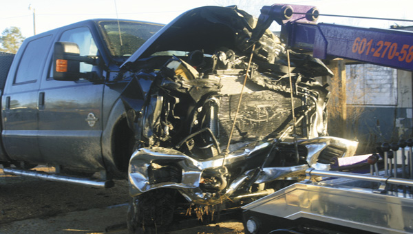 Karen Sanford / The Prentiss Headlight – Mississippi Highway Patrol spokesperson Brent Barfield confirmed the above 2014 Ford F350 was involved in an accident on Hwy. 35 and Granby Road  that took the life of Jake McRaney, 19,  of Bassfield.