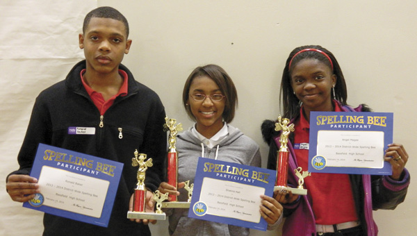 Shirley Burnaham / The Prentiss Headlight — JDCSD Spelling Bee winners are: 3rd Ron Baker, 1st place Shakira Hall and 2nd place winner Angel Magee.