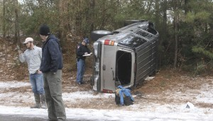 Karen Sanford / The Prentiss Headlight — The above vehicle overturned after hitting an icy patch on Highway 35 on Wednesday. The Mississippi Highway Patrol, Good Hope and Bassfield Fire Departments were on scene and reported no serious injuries