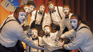 Shirley Burnham / The Prentiss Headlight—Interpretative facial expressions accentuated by the white face paint are a vital part of the mime performance.