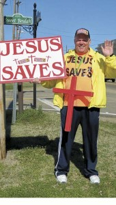 """Shirley Burnham / —""""Street Preacher"""" Duane Lyons has spread the message of Jesus Saves throughout most states and in 69 countries"""