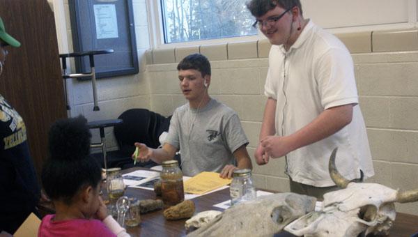 THE PRENTISS HEADLIGHT / KAREN SANFORD —Brogan Mason and John Ward, both 9th graders, show off a variety of skeletal organisms.