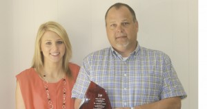 Holley Cochran / THe Prentiss Headlight—MEC STAR Teacher Hall of Fame inductee Danny Quick with PCS 2014 STAR Student Sarah Harrell.