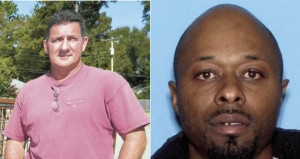 Officer Timmy Daughdrill (Left) was assaulted Saturday evening by Andreas Deone Shackleford of Hillsboro, Alabama (Right).