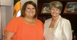 Holley Cochran / The Prentiss Headlight—New office clerk for the town, Kimberly Mason, with town clerk Missy Jones.
