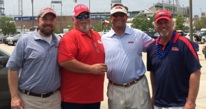 A group of Prentiss natives together in Omaha to root on the Ole Miss Rebels in the College World Series.  Pictured are Wes Daughdrill, Bubba Reynolds, Stephen Kruger and Charley Dumas.