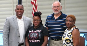 Two JDC Students received first place HOSA and FBLA State Club honors recently.  Nyquisha Brown, HOSA State Club, placed 1st  in Personal Care.  Oliviyah Farris, FBLA State Club, placed 1st in Word Processing. Pictured here are Superintendent Haynes, Nyquisha Brown, Dr. Thomas Johnson, Linnette Farris representing Oliviyah Farris.