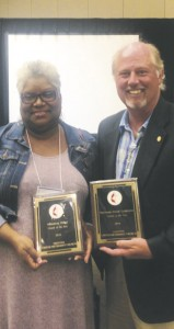 Reverend Cynthia Cross, District Superintendent for Hattiesburg and the Prentiss United Methodist Church lay delegate for the Mississippi Annual Conference, Mayor Charley Dumas pose with awards.