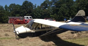 Single-engine plane owned by Sammie Hicks that crash-landed in a field in Granby.